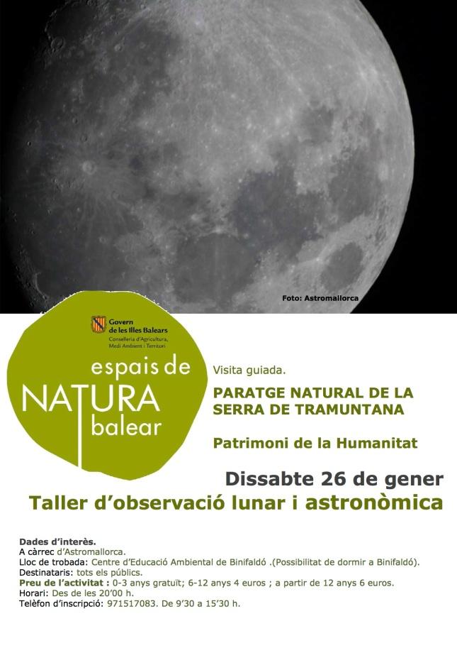 26 de gener taller d'astronomia